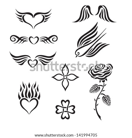 Set of tribal tattoo including hearts, rose, swallow, wings - stock vector