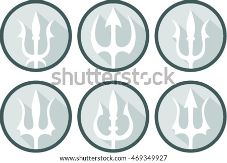 Set Trident Silhouette Trident Symbol On Stock Vector 469349927