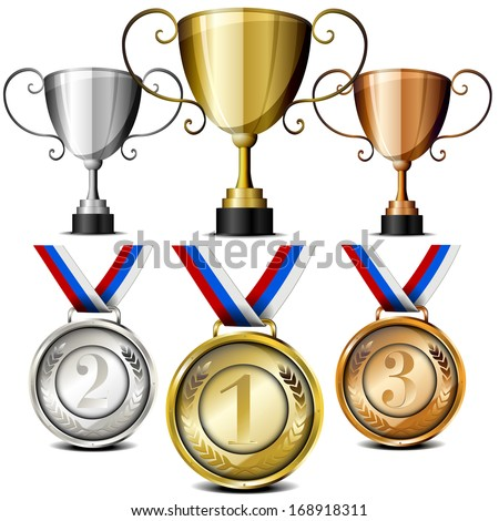 set of trophies and medals with laurel wreath and placing numbers, eps10 - stock vector