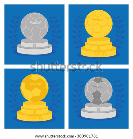 Set of trophies with handball balls on blue backgrounds with laurel wreaths