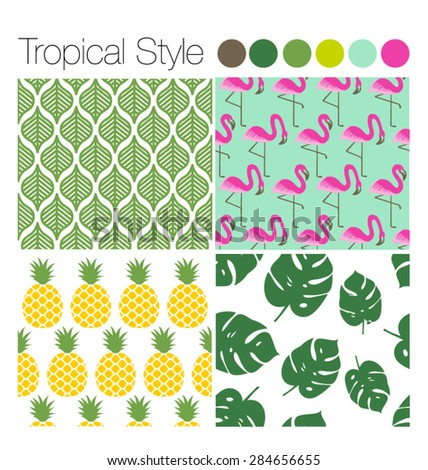 SET OF TROPICAL EXOTIC JUNGLE BACKGROUNDS PATTERNS . Editable vector illustrator file. Leaves, flamingo, pineapple. - stock vector
