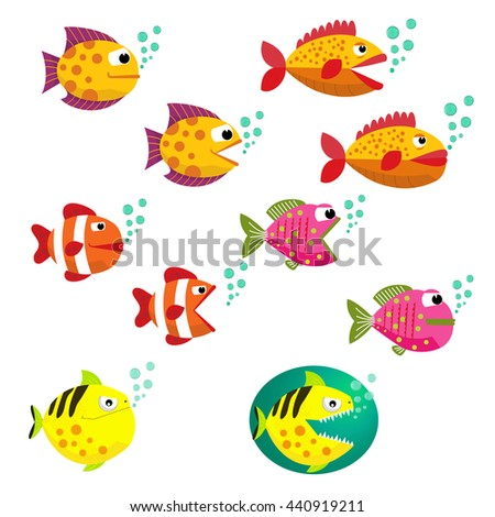 Set of tropical fishes, vector illustration. Fishes with open and closed mouth with bubbles. Fish flat style vector