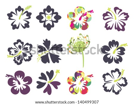 Set Of Tropical Flowers Especially Hibiscus