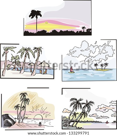 Set of tropical landscapes. Color vector sketches. - stock vector