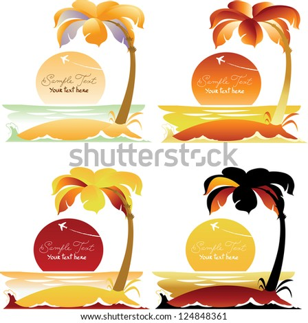 Set of Tropical Landscapes with Palm Trees