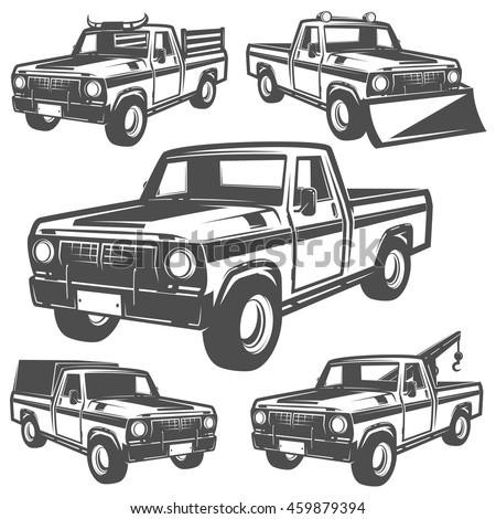 set truck pickup emlems logo stock vector 459879394