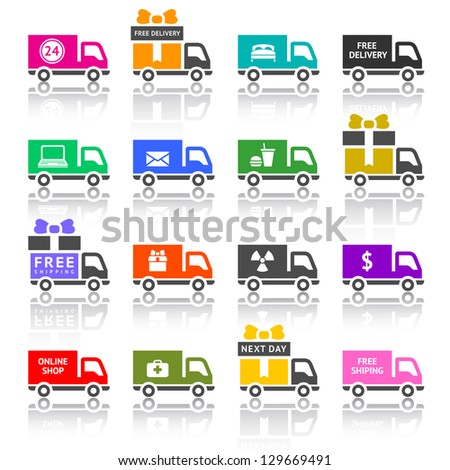 Set of truck colored icons, vector illustration - stock vector