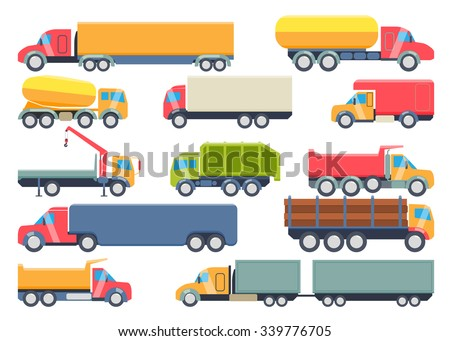 Set of trucks icons. Garbage truck, tanker truck, cement mixer, mixer, tow truck, timber, trailer. Flat style design vector illustration.  - stock vector
