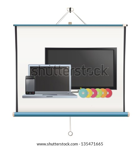Set of TV, computer,CD and phone printed on projector screen. isolated vector design. - stock vector