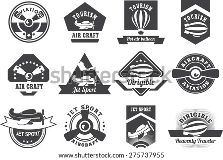 Set of twelve aircraft badges in vintage style black and white colors on a white background - stock vector