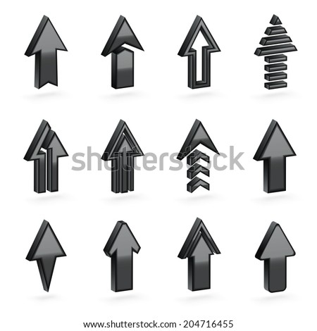 Set of twelve black dimensional arrows with the glossy shading, eps10 vector clip-art, color and shading layers are separate, easy to edit - stock vector