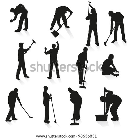 Set of twelve black silhouettes of cleaners - stock vector