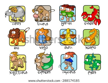 Set of twelve comic cartoon zodiacal signs. Aries, Taurus, Gemini, Cancer, Leo, Virgo, Libra, Scorpio, Sagittarius, Capricorn, Aquarius, Pisces. Horoscope collection. - stock vector