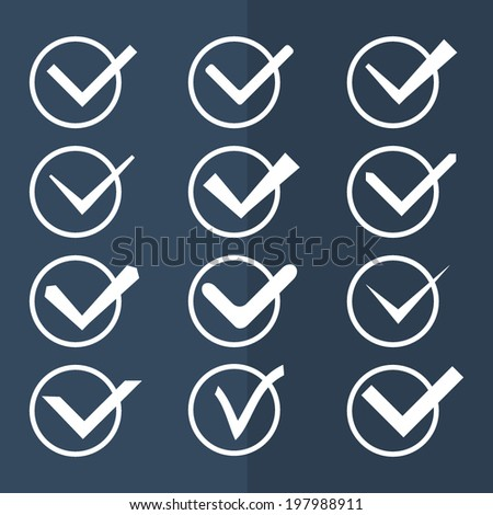 Set of twelve different black and white vector check marks or ticks in circle. Vector illustration. - stock vector