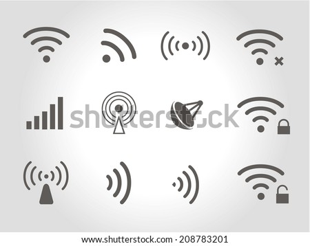 Set of twelve different black vector wireless and wifi icons for remote access and communication via radio waves - stock vector