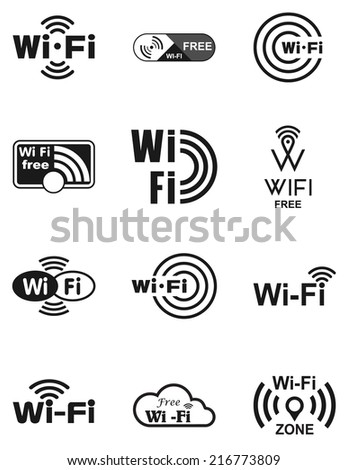 Set of twelve different black vector wireless and wifi icons for remote access and communication via radio waves. Vector illustration - stock vector