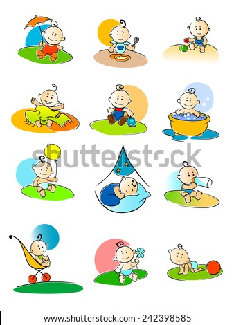 Set of twelve different colorful cartoon vector illustrations of small babies enjoying various activities - stock vector