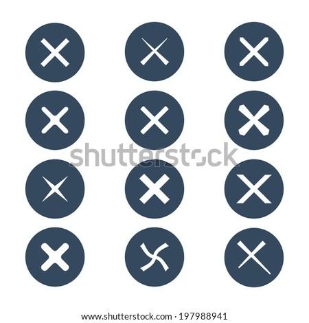 Set of twelve different vector check marks or ticks. Vector illustration. - stock vector