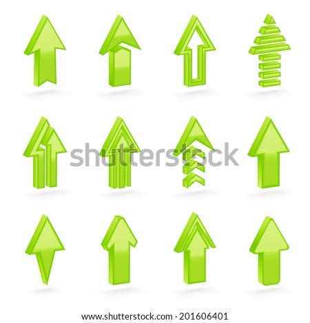 Set of twelve green dimensional arrows with the glossy shading, eps10 vector clip-art, color and shading layers are separate, easy to edit - stock vector