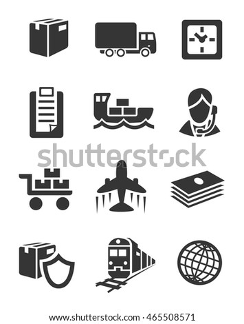 Set of twelve grey icons for logistic theme