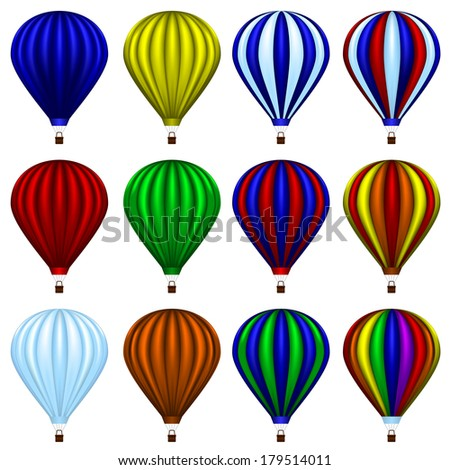 Set of twelve hot air balloons isolated on white - stock vector