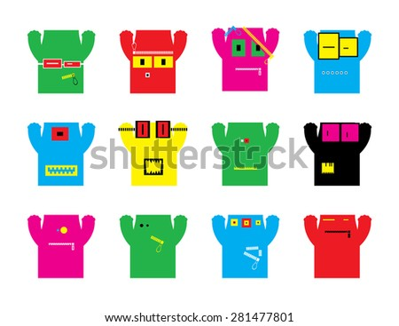 Set of twelve monsters. vector illustration - stock vector
