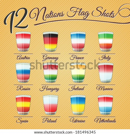 Set of twelve nations flag Shots - for celebration occasions - stock vector