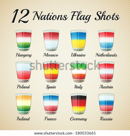 Set of twelve nations flag Shots - for celebration occasions like world cup football - bitmap - stock vector