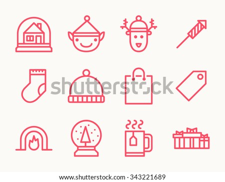 Set of twelve outline Christmas icons with snowman, deer, snow globe, sock, fireplace, hat, tea, shopping bag and other symbols - stock vector