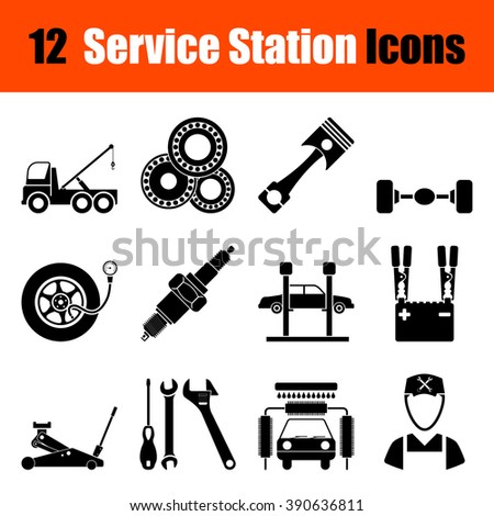 Set of twelve Service station black icons. Vector illustration. - stock vector