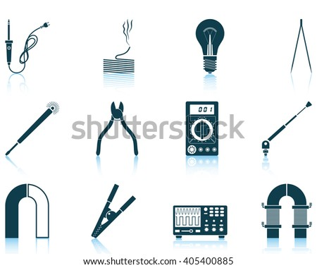 Set of twelve soldering  icons with reflections. Vector illustration.