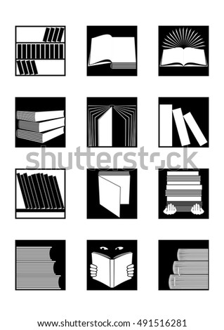 Set of twelve square black and white icons on books or library topic.