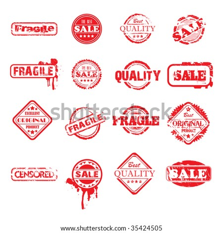 set of twelve stamps - stock vector