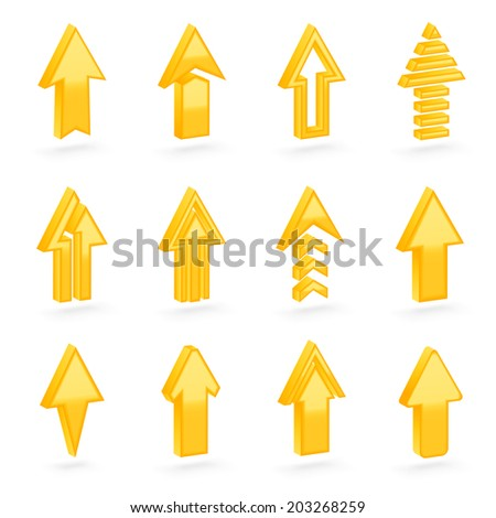 Set of twelve yellow dimensional arrows with the glossy shading, eps10 vector clip-art, color and shading layers are separate, easy to edit - stock vector