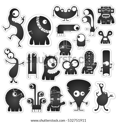 Set of twenty black and white cute monsters isolated on white with border for cutting. Funny character stickers, cartoon illustration. printable, vector.