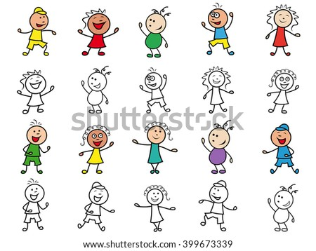Set of twenty colorful and monochrome cartoon happy cheerful simple characters of different ethnicity, hand drawing vector illustrations isolated over white - stock vector
