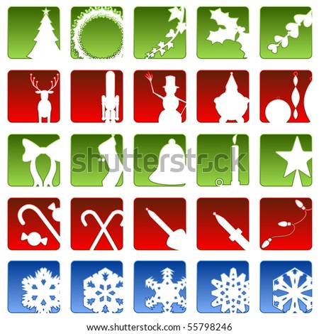 Set of twenty five beveled Christmas related icons - stock vector