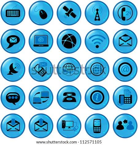 Set of twenty five communication icons - stock vector