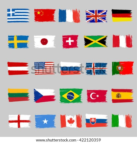 Set Of Twenty Five Grunge Flags