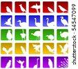 Set of twenty five icons for various bird species - stock photo