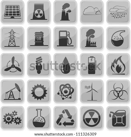 Set of 25 (twenty five) industrial icons - stock vector