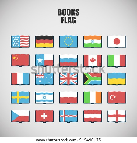 set of twenty five International Language Book Icons