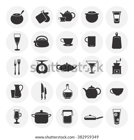 Set of twenty five kitchen icons