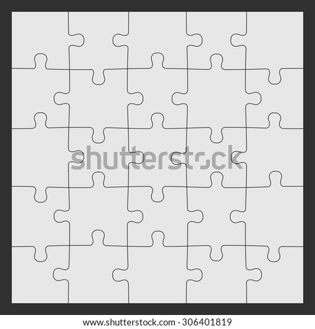 Set of twenty five puzzle pieces. Vector illustration, eps 8.