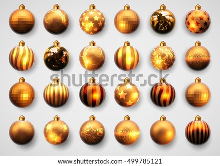 set of twenty-four gold Christmas ball with different pattern