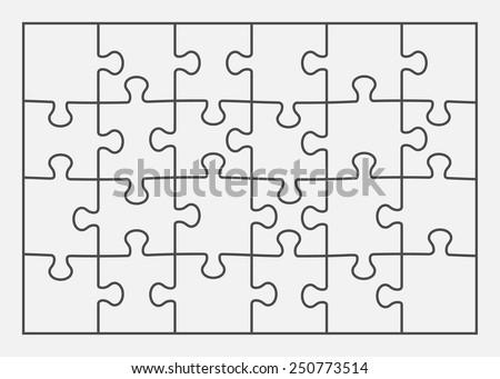Set Of Twenty Four Puzzle Pieces Vector Illustration Eps 8