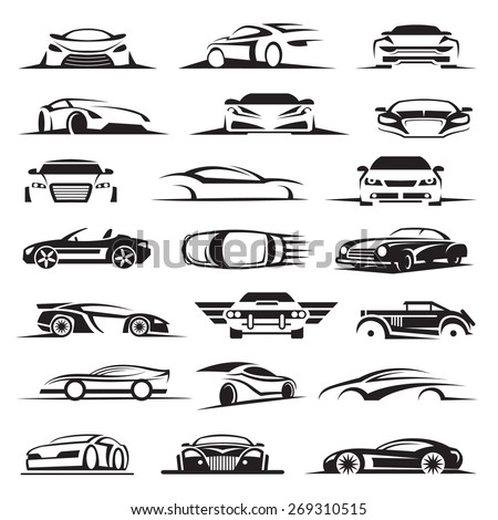 set of twenty-one car icons - stock vector