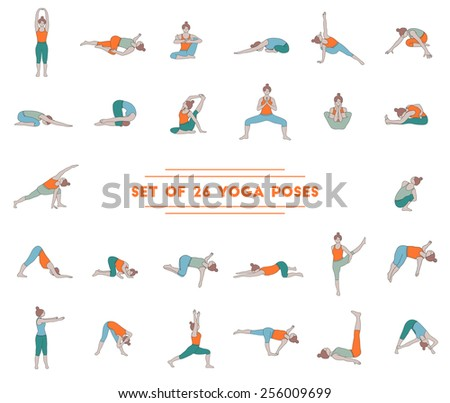 Set of twenty six yoga poses. Collection of asanas.  - stock vector