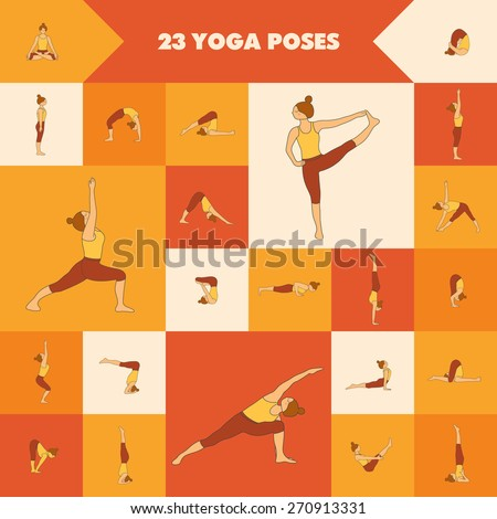 Set of twenty three yoga poses. Collection of asanas. Warm colors. - stock vector