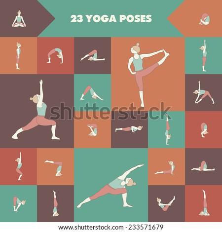 Set of twenty three yoga poses. Girl practicing asanas. - stock vector